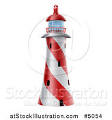 Vector Illustration of a Red and White Spiral Nautical Lighthouse by AtStockIllustration
