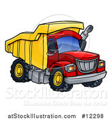 Vector Illustration of a Red and Yellow Dump Truck by AtStockIllustration