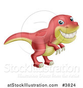 Vector Illustration of a Red and Yellow T Rex Dinosaur Grinning by AtStockIllustration