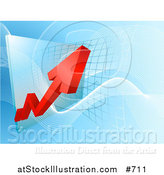Vector Illustration of a Red Arrow Showing an Increase of Profit on a Graph by AtStockIllustration
