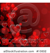 Vector Illustration of a Red Background of 3d Hearts Forming a Border by AtStockIllustration