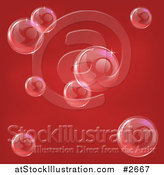 Vector Illustration of a Red Background with Reflective Bubbles by AtStockIllustration
