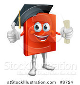 Vector Illustration of a Red Book Mascot Graduate by AtStockIllustration