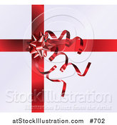 Vector Illustration of a Red Bow and Curly Ribbons on a Present by AtStockIllustration