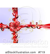 Vector Illustration of a Red Bow with Gold Trim and Curly Ribbons on a Present by AtStockIllustration