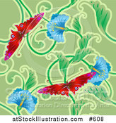 Vector Illustration of a Red Butterflies and Blue Flower Background by AtStockIllustration