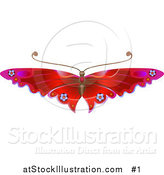 Vector Illustration of a Red Butterfly with Flower Decoration on the Wings by AtStockIllustration