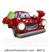 Vector Illustration of a Red Car Character Holding a Brush and Thumb up by AtStockIllustration