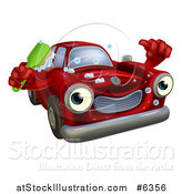 Vector Illustration of a Red Car Character Holding a Thumb up and a Scrub Brush by AtStockIllustration