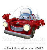 Vector Illustration of a Red Car Character Mechanic Holding a Wrench and Thumb up by AtStockIllustration