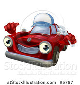 Vector Illustration of a Red Car Character Mechanic Wearing a Hat, Holding a Wrench and Thumb up by AtStockIllustration