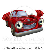 Vector Illustration of a Red Car Holding Two Thumbs up by AtStockIllustration