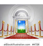 Vector Illustration of a Red Carpet and Poles Leading to a Doorway by AtStockIllustration