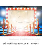 Vector Illustration of a Red Carpet and Posts Leading to a Retro Marquee Theater Sign with Light Bulbs by AtStockIllustration