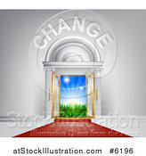 Vector Illustration of a Red Carpet Leading to a CHANGE Doorway by AtStockIllustration