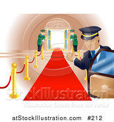 Vector Illustration of a Red Carpet Leading to Doormen Holding Open Double Doors by AtStockIllustration