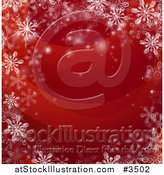 Vector Illustration of a Red Christmas Background Bordered in Snowflakes by AtStockIllustration