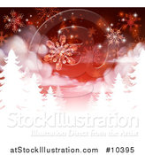 Vector Illustration of a Red Christmas Background with Falling Snowflakes over White Silhouetted Evergreen Trees by AtStockIllustration