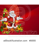 Vector Illustration of a Red Christmas Background with Santa and a Tower of Gifts by AtStockIllustration