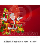 Vector Illustration of a Red Christmas Background with Santa and a Tower of Presents by AtStockIllustration