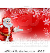 Vector Illustration of a Red Christmas Background with Santa Presenting and a Snowflake Border by AtStockIllustration