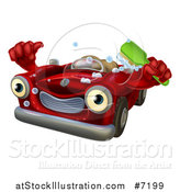 Vector Illustration of a Red Convertible Car Character Holding a Thumb up and a Green Scrub Brush by AtStockIllustration
