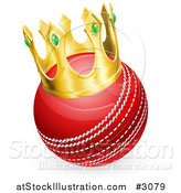 Vector Illustration of a Red Cricket Ball Wearing a 3d Gold Crown by AtStockIllustration