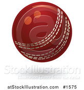 Vector Illustration of a Red Cricket Ball with White Stitching by AtStockIllustration