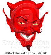 Vector Illustration of a Red Devil Face with a Goatee by AtStockIllustration