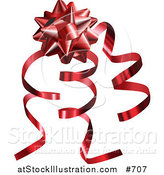 Vector Illustration of a Red Gift Bow and Curly Ribbons on a Present by AtStockIllustration