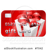 Vector Illustration of a Red Gift Card with a Present Graphic by AtStockIllustration