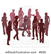 Vector Illustration of a Red Group of Silhouetted People Hanging out in a Crowd, Two Friends Hugging by AtStockIllustration