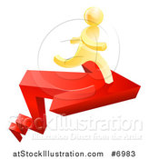 Vector Illustration of a Red Growth Arrow and 3d Gold Man Running on Top by AtStockIllustration