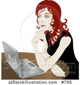 Vector Illustration of a Red Haired Woman Using a Laptop Computer by AtStockIllustration