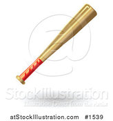 Vector Illustration of a Red Handled Wooden Baseball Bat by AtStockIllustration