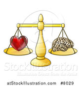 Vector Illustration of a Red Heart and Brain on Golden Scales, Following Logic or Passions by AtStockIllustration