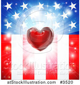 Vector Illustration of a Red Heart and Burst over American Stars and Stripes Flag by AtStockIllustration