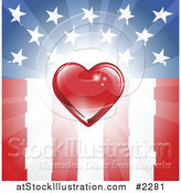 Vector Illustration of a Red Heart over an American Flag by AtStockIllustration