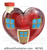 Vector Illustration of a Red Heart Shaped Home by AtStockIllustration