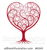Vector Illustration of a Red Heart Tree with Swirls by AtStockIllustration