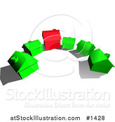 Vector Illustration of a Red House in the Center of Green Houses in a Cul De Sac by AtStockIllustration