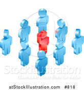 Vector Illustration of a Red Individual Raising Their Hand While Standing in a Group of Blue Employees or Volunteers by AtStockIllustration