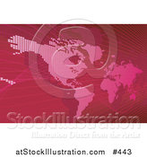 Vector Illustration of a Red Map of the Americas and Europe by AtStockIllustration