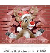 Vector Illustration of a Red Nosed Christmas Reindeer Breaking Through a Brick Wall by AtStockIllustration