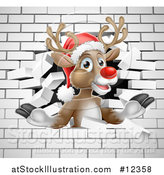 Vector Illustration of a Red Nosed Christmas Reindeer Breaking Through a White Brick Wall by AtStockIllustration