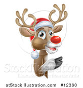 Vector Illustration of a Red Nosed Christmas Reindeer Looking Around a Sign by AtStockIllustration