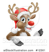 Vector Illustration of a Red Nosed Christmas Reindeer over a Sign by AtStockIllustration