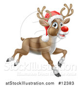 Vector Illustration of a Red Nosed Christmas Reindeer Running or Flying by AtStockIllustration