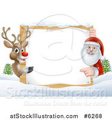 Vector Illustration of a Red Nosed Reindeer and Santa Pointing Around a Christmas Wood Sign in the Snow by AtStockIllustration