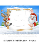 Vector Illustration of a Red Nosed Reindeer and Santa Pointing Around a Christmas Wood Sign on a Winter Day by AtStockIllustration